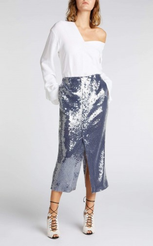 ROLAND MOURET NOBEL SKIRT in NAVY ~ blue sequin pencil skirts