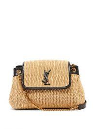 SAINT LAURENT Nolita beige raffia shoulder bag