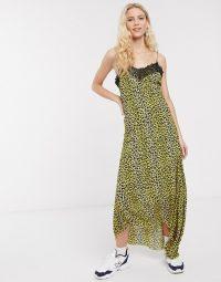 Notes Du Nord omita leopard print slip midi dress in lemon leopard
