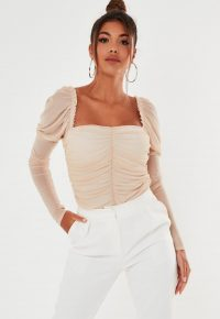 MISSGUIDED nude mesh sweetheart ruched bodysuit