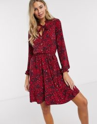 Oasis shirt dress in heart print multi red