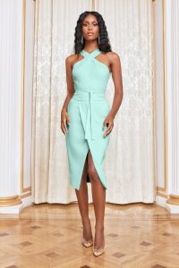 LAVISH ALICE obi belted halterneck midi dress in mint – green halter dresses