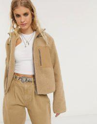 Object fleece jacket in camel – casual style