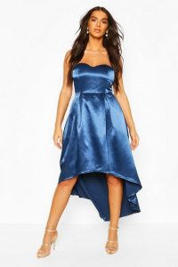 Boohoo Occasion Bandeau Satin Midi Skater Dress Navy – blue party dresses – strapless fit and flare