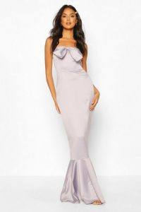boohoo Occasion Satin Bow Front Fishtail Maxi Dress in grey