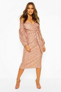 boohoo Occasion Sequin Off The Shoulder Midi Dress in blush
