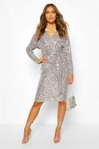 boohoo Occasion Sequin Plunge Tie Waist Midi Dress in grey – glitzy party dresses
