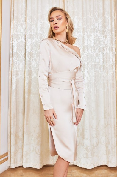 LAVISH ALICE off the shoulder satin shirt dress in champagne – luxe style occasion dresses