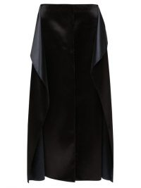 THE ROW Okif bonded hammered-satin ruffled midi skirt in black | draped panel skirts