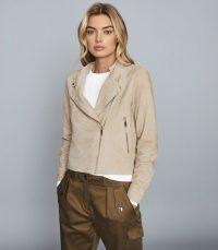 REISS OLIVIA SUEDE BIKER JACKET NEUTRAL ~ luxury looks