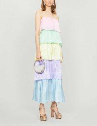 OLIVIA RUBIN Cici tiered silk-satin maxi dress in neapolitan colourblock / tiered thin strap dresses