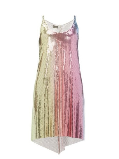 PACO RABANNE Ombré-chainmail dress ~ multicoloured metallic party wear
