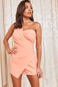 LAVISH ALICE one shoulder button detail playsuit in cantaloupe – ruched playsuits