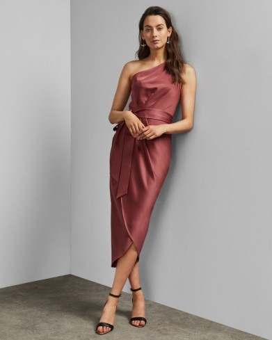 TED BAKER GABIE One shoulder drape midi dress in mid pink / wrap style occasion dresses - flipped