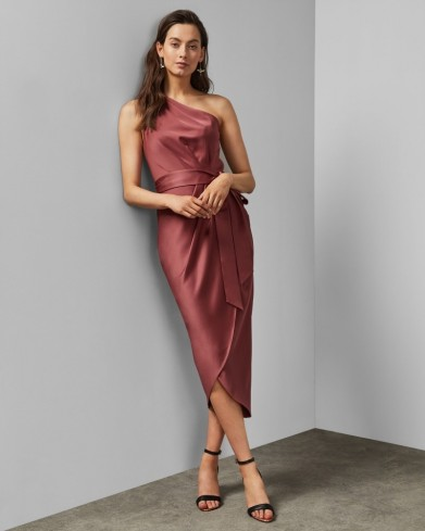TED BAKER GABIE One shoulder drape midi dress in mid pink / wrap style occasion dresses