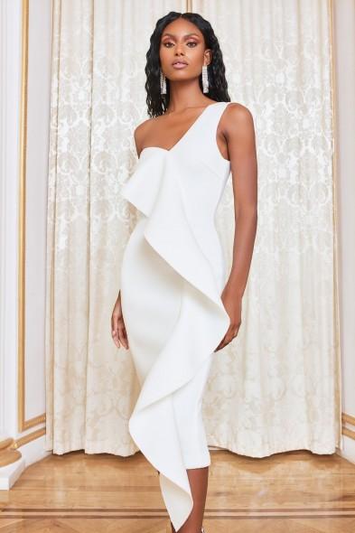 LAVISH ALICE one shoulder scuba frill midi dress in white – extreme-ruffle dresses
