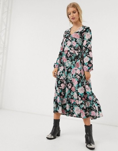 Only smock dress with ruffle detail in floral print - flipped