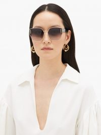 KAREN WALKER EYEWEAR Oracle oversized-butterfly metal sunglasses in gold – smoke-grey lenses