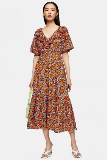 TOPSHOP Orange Floral Print V Neck Frill Midi Dress