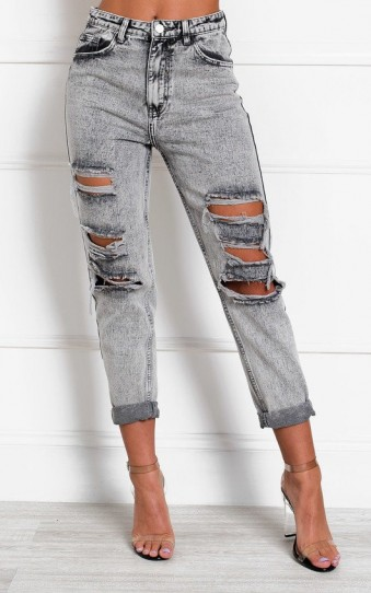 IKRUSH Orlagh Distressed Straight Leg Jeans in Alien