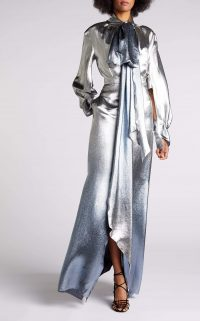 ROLAND MOURET OSPREY GOWN in SILVER BLUE METALLIC ~ event glamour ~ show stopping gowns