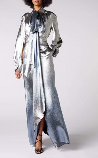 ROLAND MOURET OSPREY GOWN in SILVER BLUE METALLIC ~ event glamour ~ show stopping gowns - flipped
