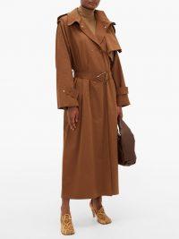 BOTTEGA VENETA Oversized-collar trench coat in brown