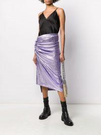 PACO RABANNE asymmetric metallic skirt in Light-Purple