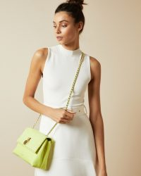 TED BAKER MARGIAT Padlock leather cross body bag in lime / colour pop bags / bright crossbody bags
