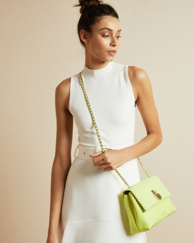 TED BAKER MARGIAT Padlock leather cross body bag in lime / colour pop bags / bright crossbody bags - flipped