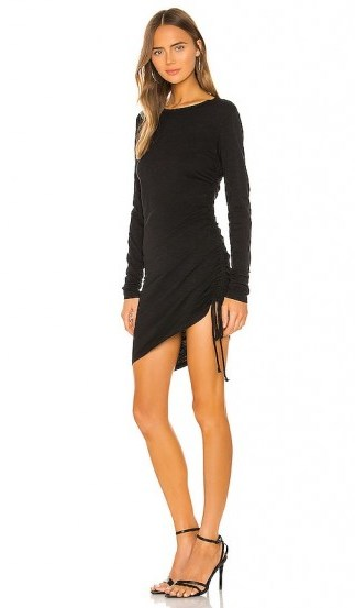 Pam & GelaSide Ruched Dress in Black - flipped
