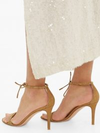 GIANVITO ROSSI Pascale 85 crystal and metallic-suede sandals in gold ~ barely there heels with crystals