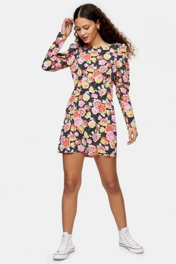 TOPSHOP Pastel Print Mini Dress / puffed sleeves - flipped