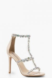 Boohoo Patent Embellished Cage Heel Sandals Nude – party heels