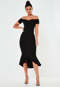 MISSGUIDED petite black bardot fishtail bodycon midi dress – LBD