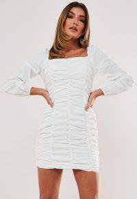 MISSGUIDED petite white poplin square neck mini dress – lwd