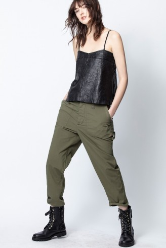Zadig & Voltaire PIAR PANTS in Khaki – casual tapered trousers
