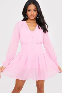 IN THE STYLE PINK BUTTON DOWN CHIFFON SKATER DRESS – long sleeve fit and flare