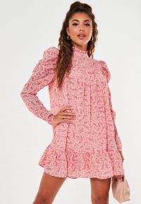 MISSGUIDED pink ditsy floral high neck puff sleeve smock dress