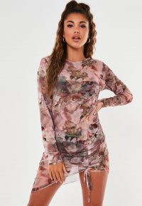 MISSGUIDED pink floral renaissance print long sleeve dress