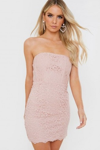 IN THE STYLE PINK LACE BONED STRAPLESS MINI DRESS - flipped