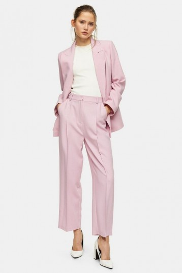 TOPSHOP Pink Marl Double Breasted Suit – trouser suits