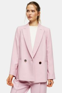 TOPSHOP Pink Marl Oversized Double Breasted Blazer