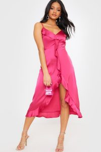 IN THE STYLE PINK SATIN FRILL MIDI DRESS