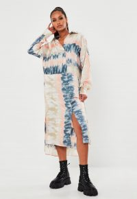 MISSGUIDED pink tie dye oversized dip back satin midi dress / high / low hemlines