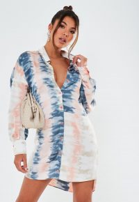 MISSGUIDED pink tie dye oversized dip back satin shirt dress