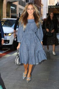 SJP wearing silver Mary Janes
