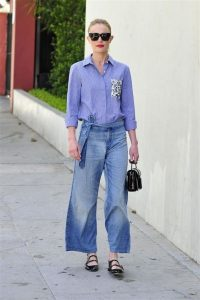 Kate Bosworth wearing denim and a pair of black patent double strap Mary Janes