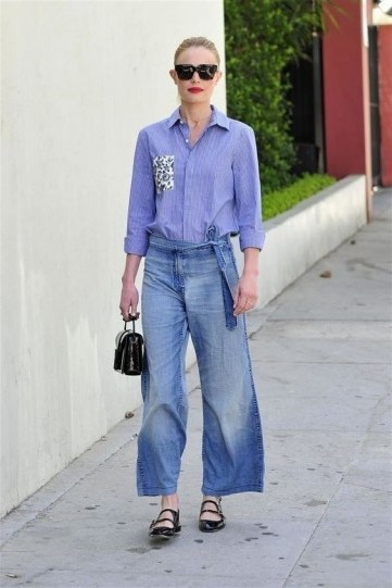 Kate Bosworth wearing denim and a pair of black patent double strap Mary Janes - flipped