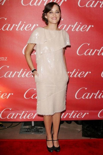 Marion Cotillard shimmering sequinned dress and black Mary Jane heels